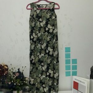 Teddi tropical floral vintage 90s rayon midi dress
